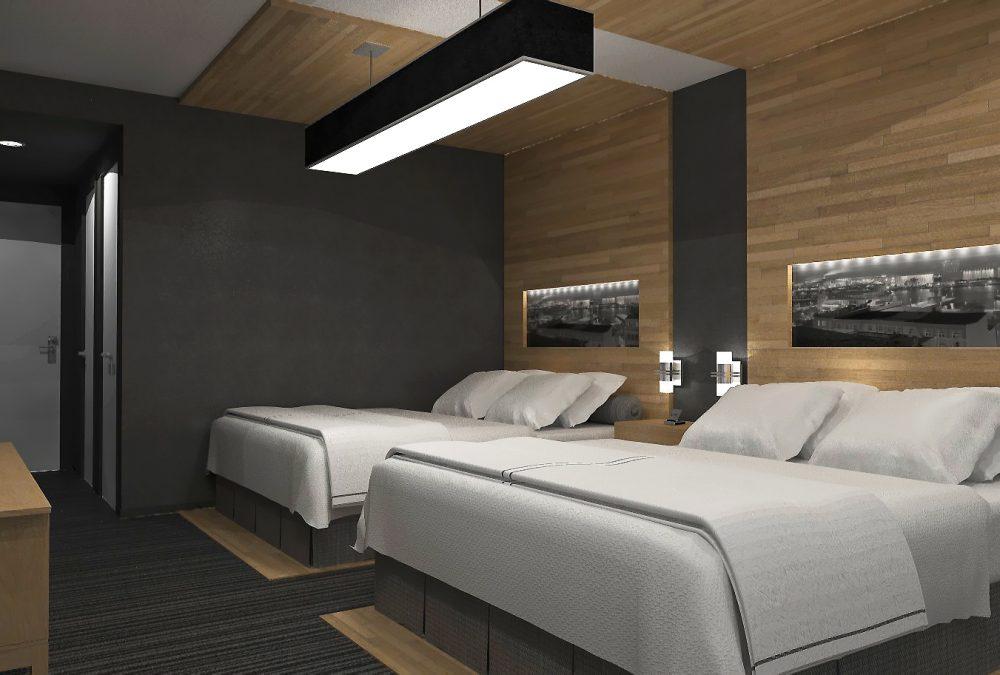 Design intérieur chambre hôtel bois